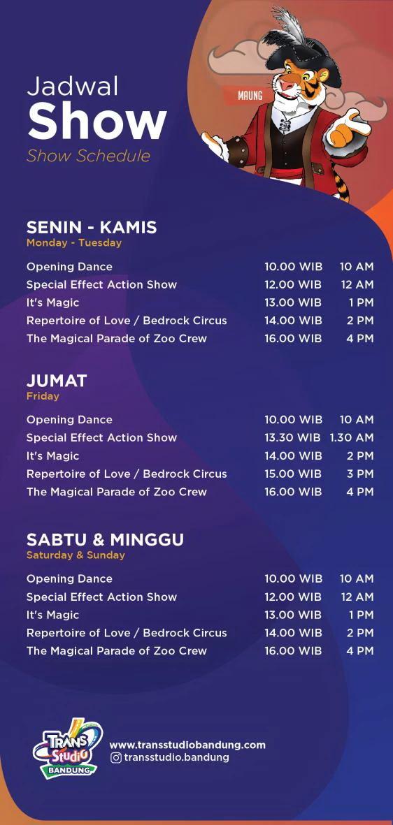 Jadwal Pertunjukan di Trans Studio Bandung